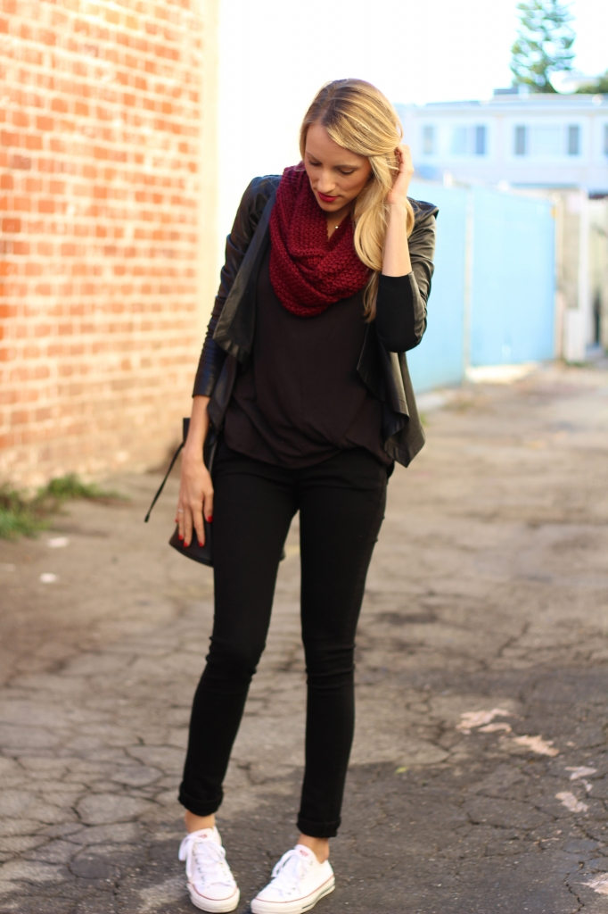Casual wear: All black with pops of red