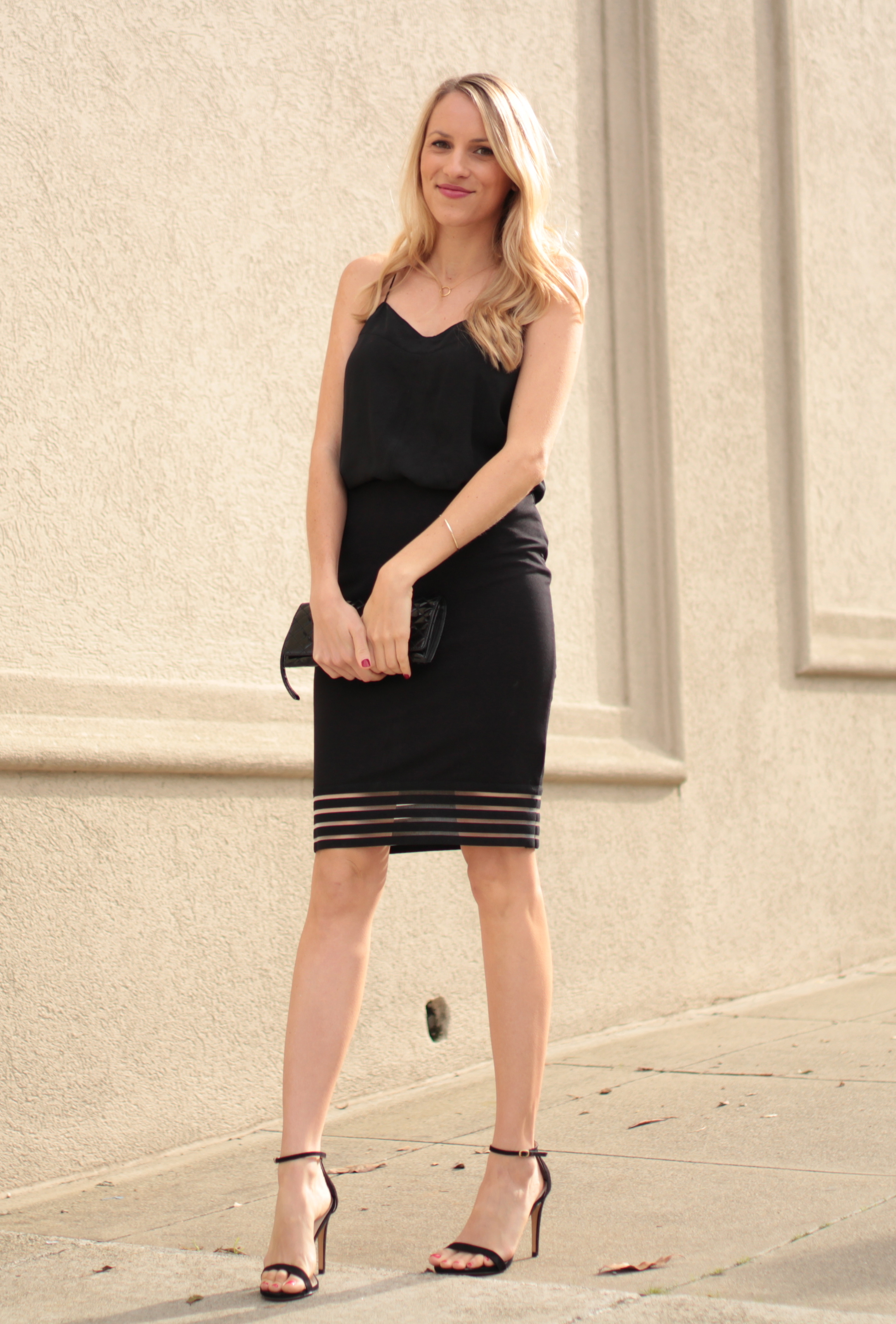 All black outfit featuring a mesh penel skirt by Fevrie