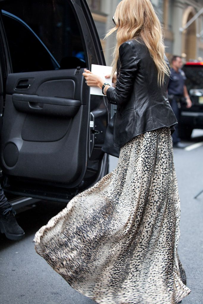 Leather Jacket With A Maxi Dress