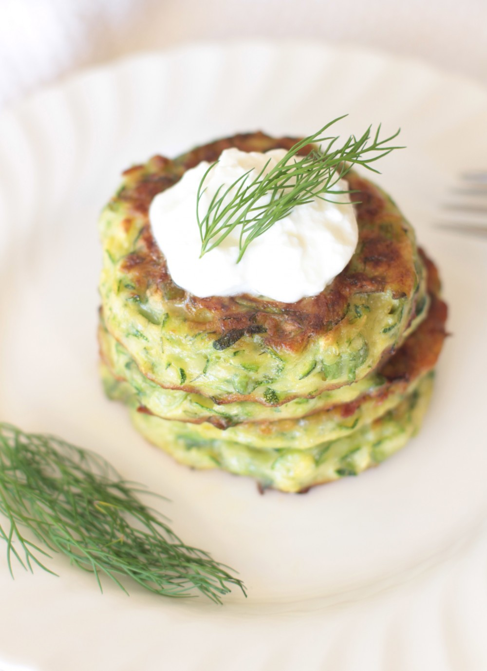 Healthy Zucchini Fritters With Greek Yogurt - Adorned With Love