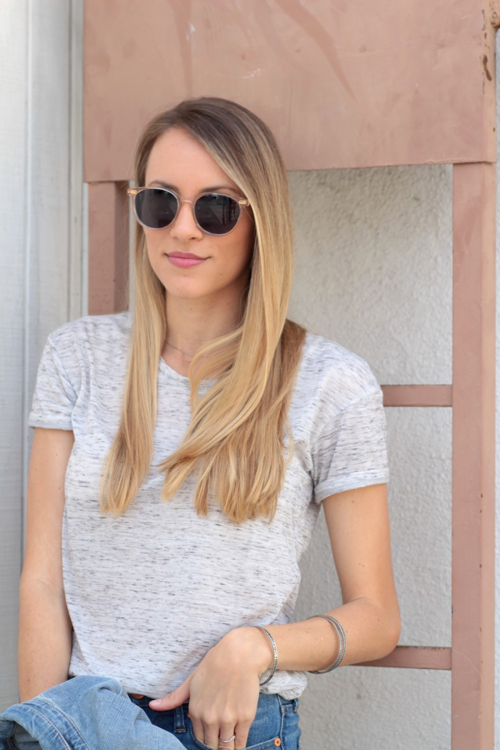 Bella Luxx Marbled Crew Neck Tee & Toms Bellini Champagne Crystal Sunglasses   Adorned With Love